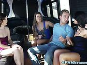 CFNM reverse gang bang with hot babes sucking dick