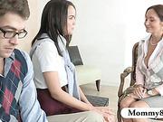 Huge tits teacher MILF teaches a teen couple new things