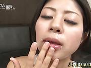 Facialized asian babe swallows