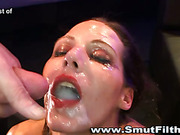 Cum gargling hoe fucked in group