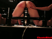 Rough lezdom redhead domina plays with subs clit