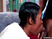 Sexy black girl takes it from behind