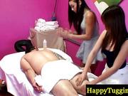 Asian masseuses jerking customer