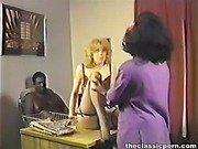 Interracial threesome in retro movie