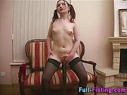 Teen stuffs her pussy