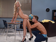 Nina flashes tits and wanks students cock and she gets pounded