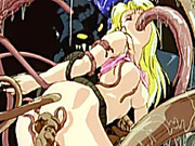 Blonde hentai girl caught and hot drilled by tentacles