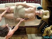 Massaged busty blonde