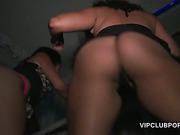 Curly slut deep throats giant cock at VIP orgy