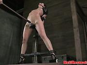 Gagged sub bent backwards and toyed