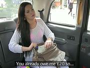 Sexy brunette chick Sasha trades sex for a free taxi fare
