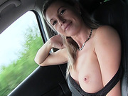 Beautiful blonde hitchhiker Alena gets hammered by dude in public