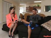 Teen Zoe Parker and stepmom Dava Foxx share a cock on sofa