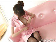 Ririka Suzuki has a hole ripped in her pantyhose so that her pussy can be fingered.