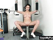 Busty babe Rita pervy pussy gaping in the gym