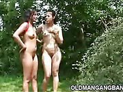 Double gangbang outdoors