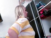 Blonde temptress working her huge ass