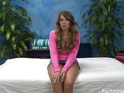Cute 18 year old Casey seduced and fucked hard after her free massage!