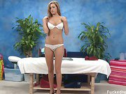 Sexy 18 year old Rose sucks and fucks her massage therapist after being seduced on the massage table