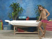 Cute 18 year old Sasha Hall seduced and fucked hard after her free massage!