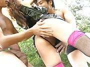 Two horny guys tie up Asuka Ishihara in the woods and fuck her senseless
