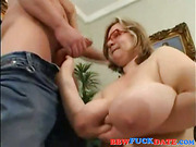 Mature busty BBW fucked by young man