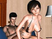 Asian 3d babe rides guys hard cock