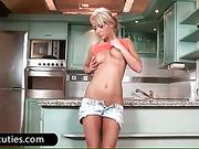 Blonde bitch masturbate in kitchen