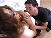 Old granny Rosaly fucked by horny stalker