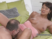 Tanned mom banged and got creampie