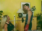 Blonde Bombshell Gets Licked And Porked In Gym.