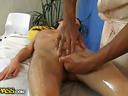 Young brunette fucked during a massage