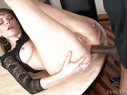 Dana gets a thrill from Sean hard black cock in her ass.