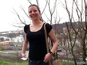 European amateur babe flashed and fucked in public