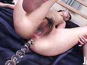 Kanon Hanai has her tight ass toyed, her pussy fucked, and her pussy used as a cum bucket