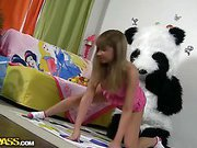 Chick plays with unusual sex toy
