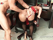 Hardcore anal sex and fist fuck for slutty redhead in stockings