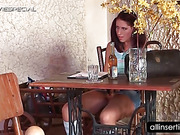 Teen horny girl vibrating pussy in a public toilet
