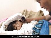 Sweet and innocent schoolgirl Minami Asaka pussy eaten