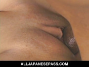 Big titty babe Mei Amasaki sucks cock and is ridden hard by two dicks