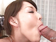 Bitchy asian nymph blowing two dicks at once in threesome