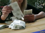 Eurobabe in glasses pounded for money