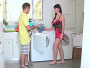 Stepmom fucks teen boyfriend for laundry