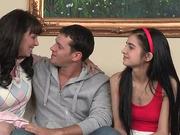 Naughty mom teaches teen to suck cock