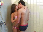 Kissing in the shower