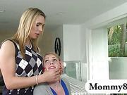 Mature piano teacher Tanya disciplines a teen couple in her class