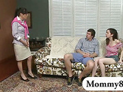 Mature stepmom finds a teen sucking a big cock on her couch