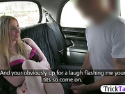 Blonde woman gets fucked hard in a taxi