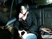 Amateur teen squirts and fucks on the backseat of a taxi