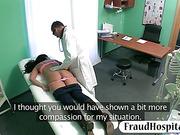 Fraud doctor slides his hard cock inside her patients twat